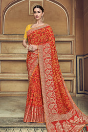 Bridal Red Woven Patola Saree With Banarasi Border And Designer  Embroidered Blouse