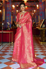 Load image into Gallery viewer, Punch pink handcrafted customised kanjivaram Saree