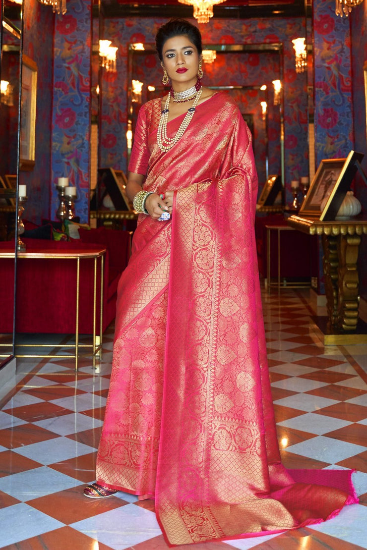 Punch pink handcrafted customised kanjivaram Saree