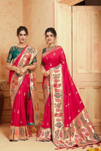 Load image into Gallery viewer, Rani Pink  zari woven banarasi saree