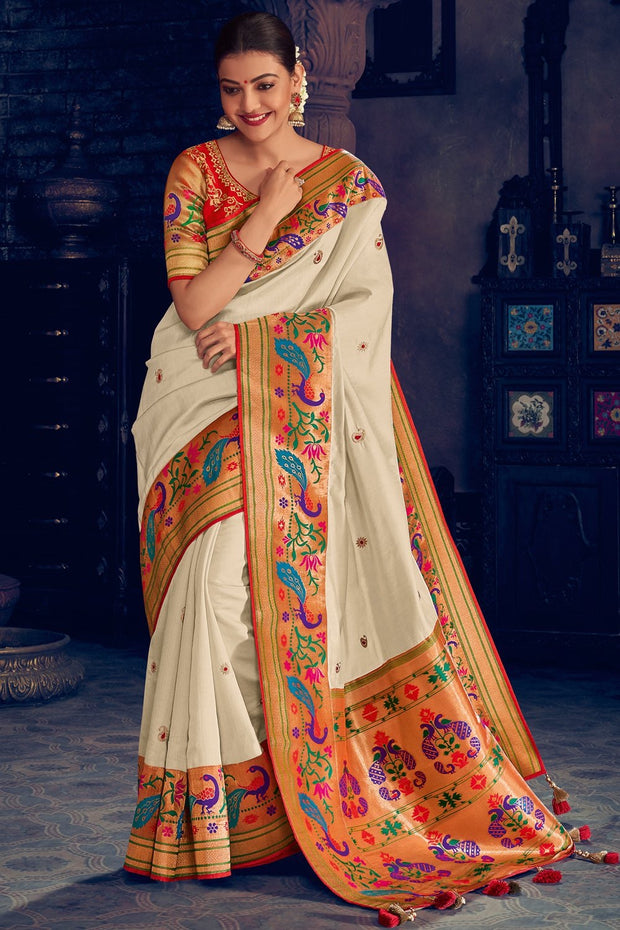 Rice White Woven Paithani Silk Saree