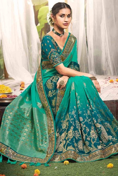 Aqua Blue Banarasi Embroidered Blouse Silk Saree