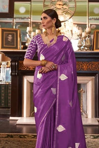 Purple Zari Butta Woven Banarasi Saree