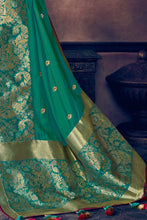 Load image into Gallery viewer, Pine green woven paithani saree