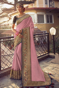 Stunning Sunset Pink Zari Woven South Silk Saree.