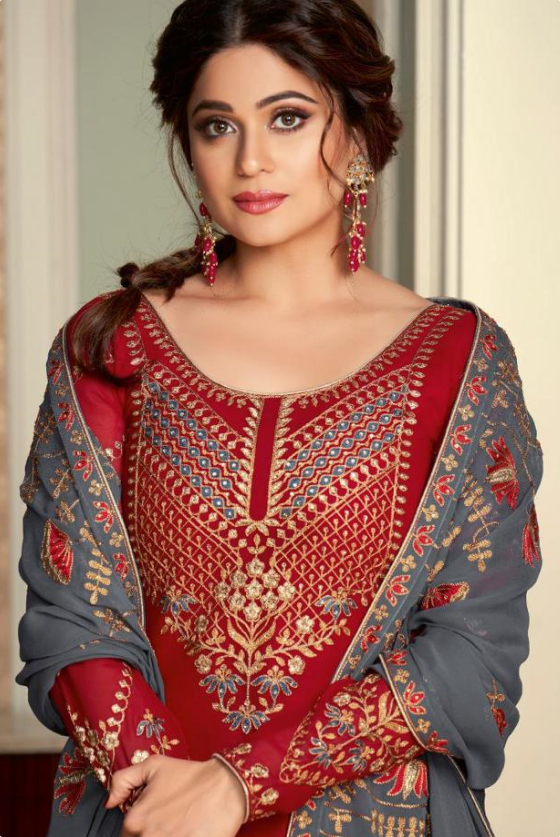Ash Red Sharara Suits for Festivals and Parties