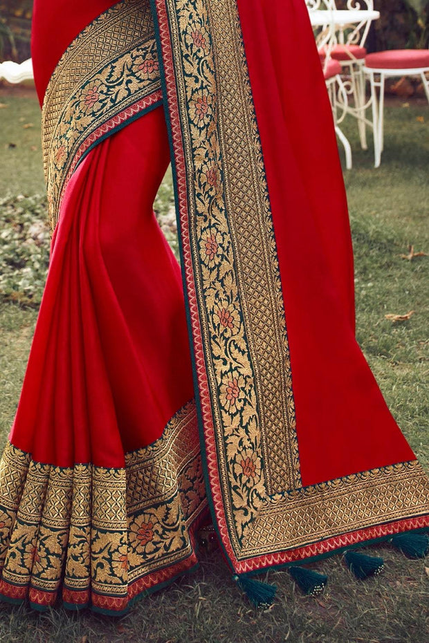 Beautiful Crimson Red Zari Woven South Silk Saree