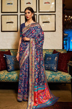 Load image into Gallery viewer, Space Blue Banarasi Silk Saree