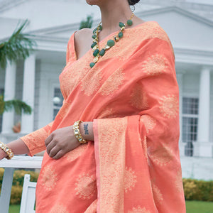 Flamingo Pink Lucknowi Chinkari Saree