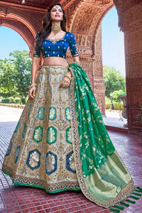 PERSIAN GREEN,LAVA GREY EMBROIDERED SILK LEHENGA WITH EMBROIDERED BLOUSE AND DUPATTA
