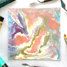 "Load image into Gallery viewer, ""Creamsicle Dreamsicle"" Gold Acrylic Fluid Painting"
