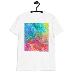 """Lakeside Garden"" White Short-Sleeve Unisex T-Shirt"