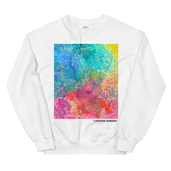 """Lakeside Garden"" White Unisex Sweatshirt"