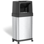 18 Gallon Rectangular Dual Push Door Trash Can with Wheels