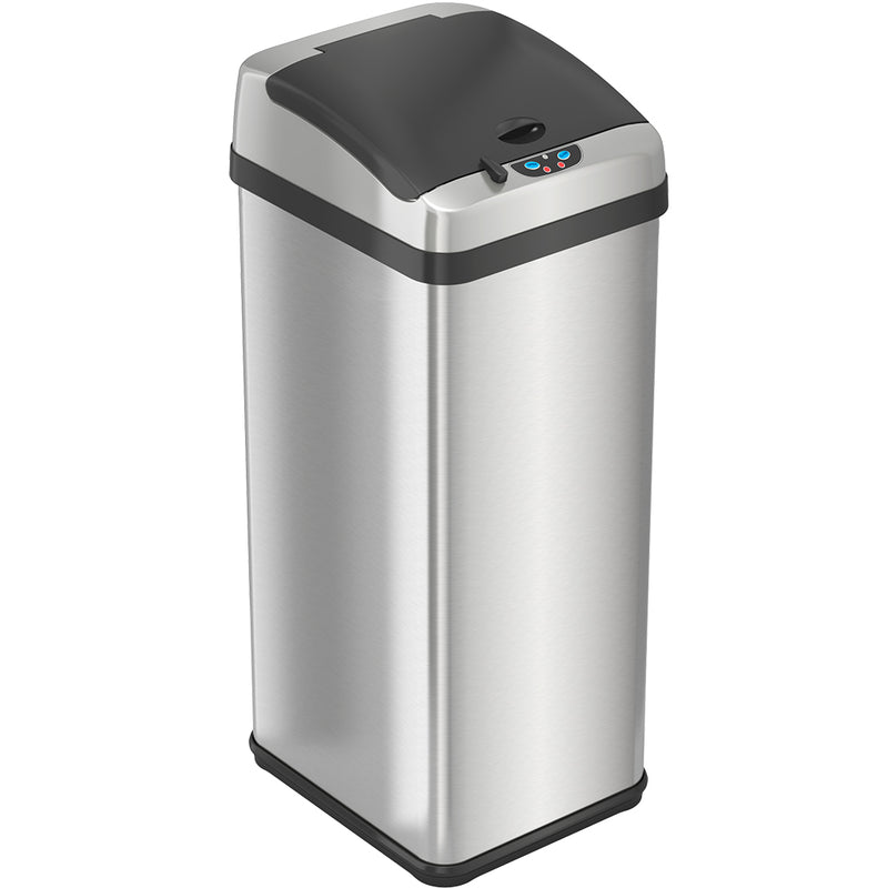 13 Gallon Rectangular Extra-Wide Stainless Steel Sensor Trash Can