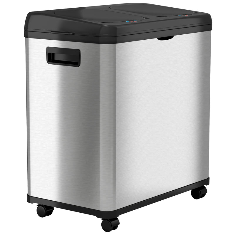 16 Gallon Dual-Compartment Stainless Steel Sensor Recycle Bin/Trash Can with Black Lid