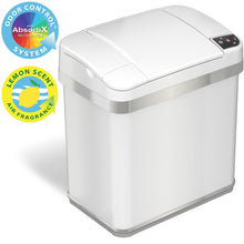 Load image into Gallery viewer, 2.5 Gallon White Touchless Trash Can with Deodorizer and Fragrance