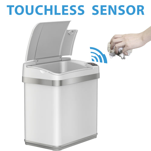 2.5 Gallon Multifunction White Sensor Trash Can