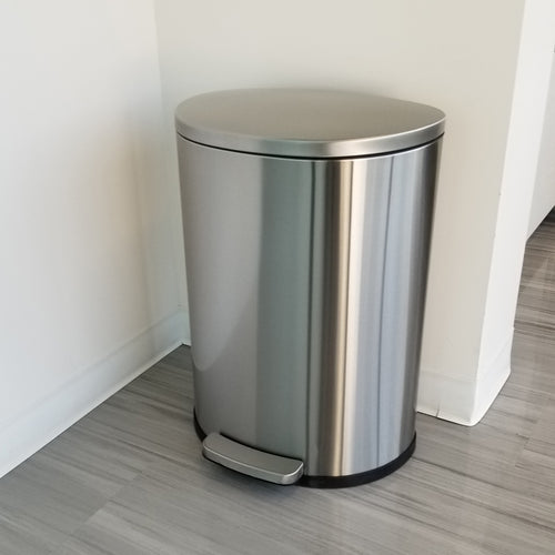 SoftStep™ 50 Liter Semi-Round Stainless Steel Step Trash Can