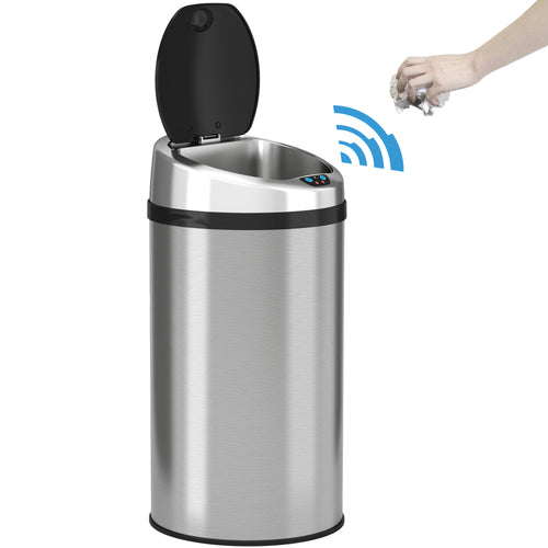 8 Gallon Round Stainless Steel Sensor Trash Can
