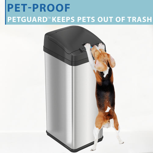 13 Gallon Pet-Proof Extra-Wide Stainless Steel Sensor Can