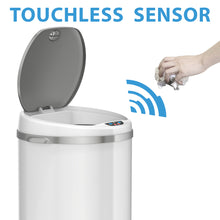 Load image into Gallery viewer, iTouchless 30 Liter White Stainless Steel Sensor Trash Can with Odor Filter
