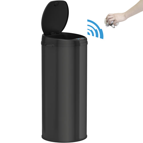 13 Gallon Round Deodorizer Black Sensor Can