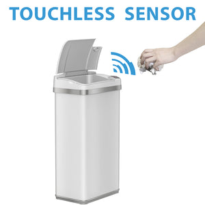 4 Gallon White Touchless Trash Can with Deodorizer and Fragrance