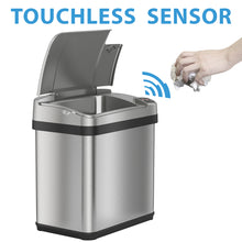 Load image into Gallery viewer, iTouchless 9.5 Liter Stainless Steel Sensor Trash Can with Odor Filter and Fragrance