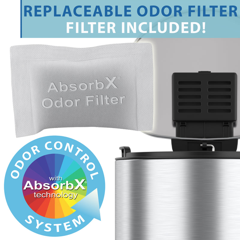 SoftStep™ 2 Gallon Semi-Round Step Trash Can with AbsorbX Odor Filter