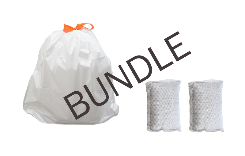 40 Premium Trash Bags for 16 Gal. Cans and 2 Activated Carbon Filters Bundle