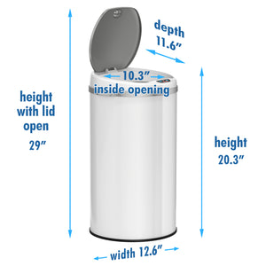 iTouchless 30 Liter White Stainless Steel Sensor Trash Can with Odor Filter