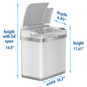 2.5 Gallon White Touchless Trash Can with Deodorizer and Fragrance