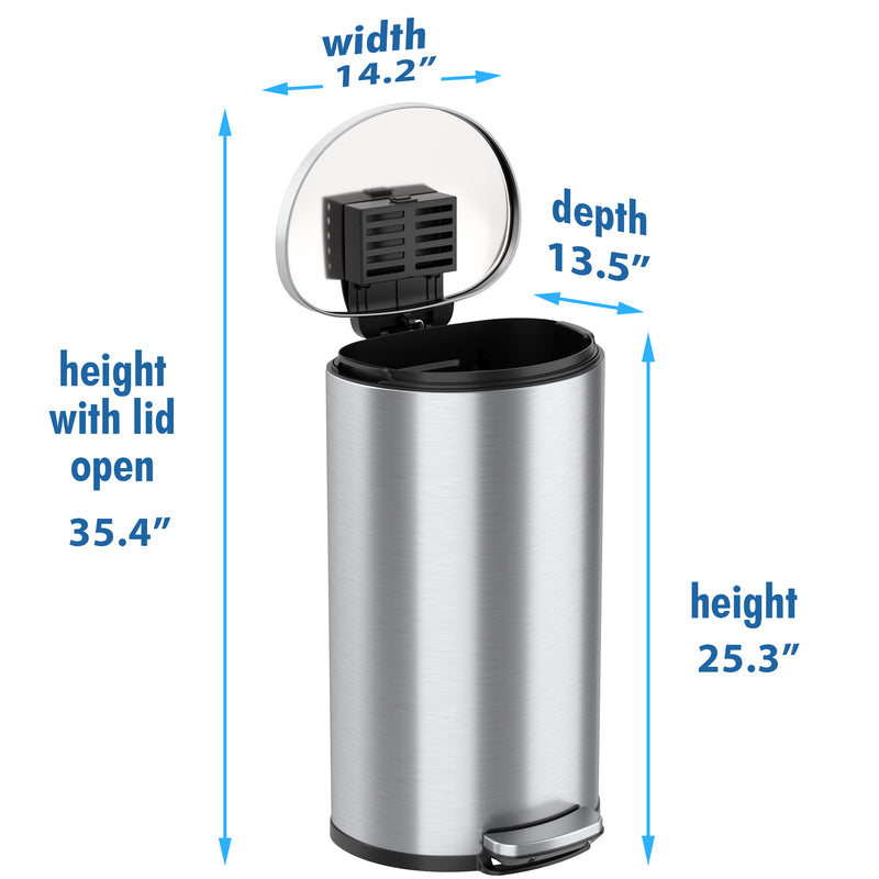SoftStep™ 8 Gallon Semi-Round Step Trash Can with AbsorbX Odor Filter