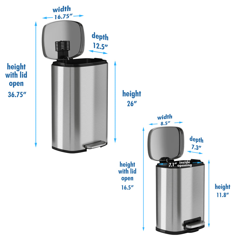 SoftStep™ 50 Liter and 5 L Stainless Steel Step Trash Can Combo