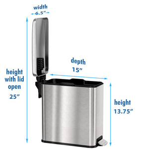 SoftStep™ 3 Gallon Slim Bathroom Stainless Steel Step Trash Can
