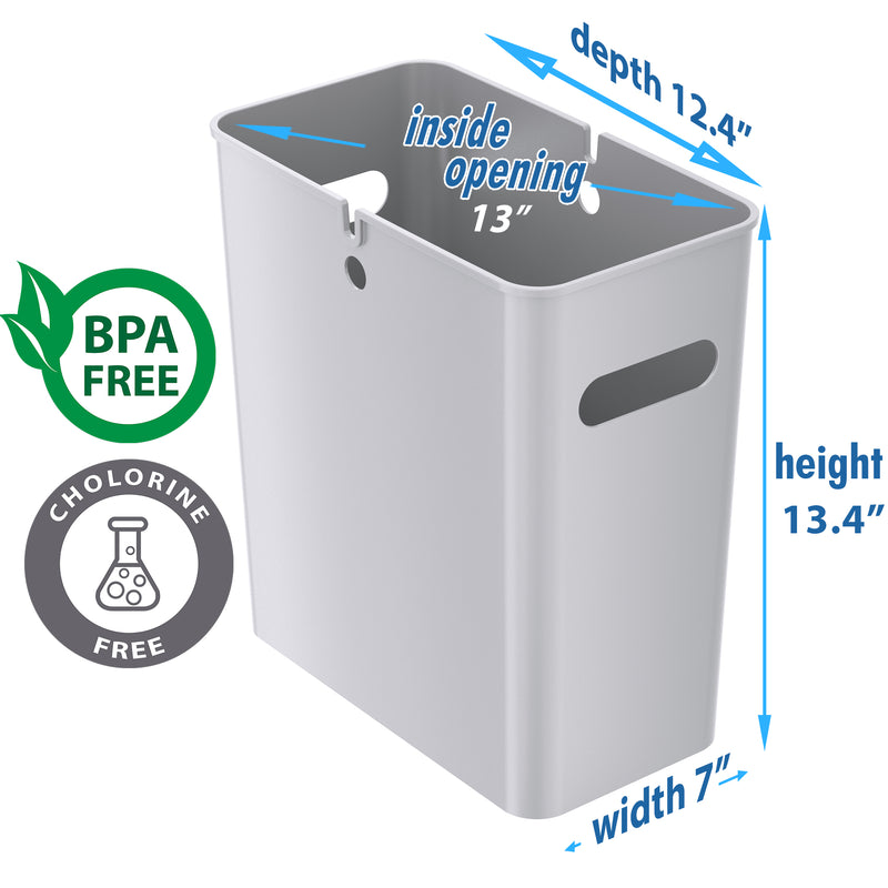SlimGiant 4.2 Gallon Metallic Silver Open Trash Can (2-Pack)