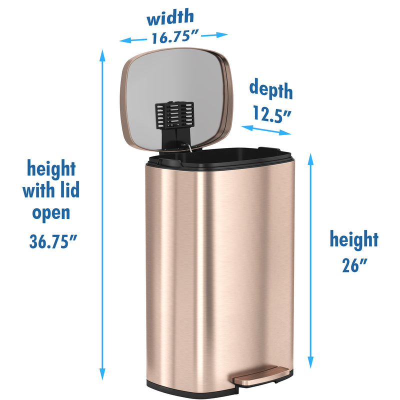 SoftStep™ 50 Liter Stainless Steel Step Trash Can in Rose Gold