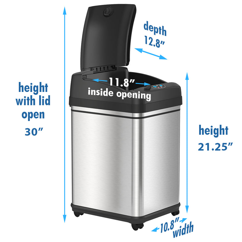 iTouchless 8 Gallon Pet-Proof Sensor Trash Can with Wheels