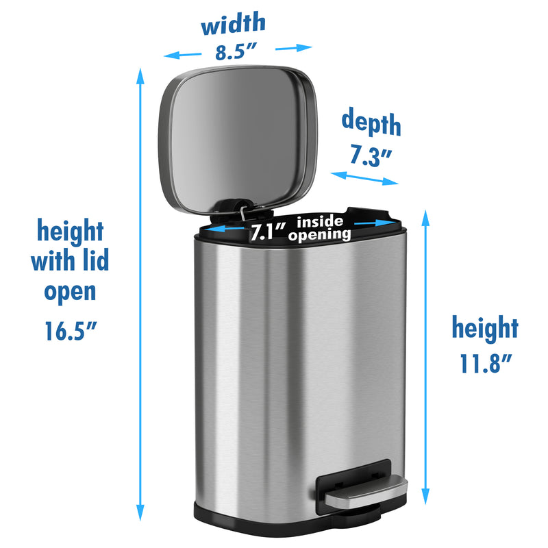 iTouchless SoftStep™ 5 Liter Stainless Steel Step Trash Can