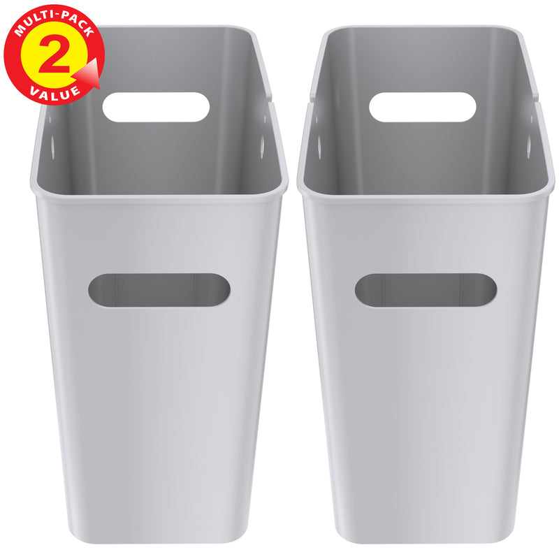 iTouchless SlimGiant 4.2 Gallon Metallic Silver Open Trash Can (2-Pack)
