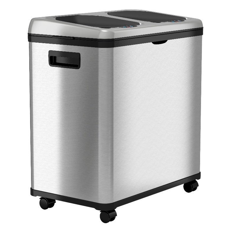 16 Gallon Dual-Compartment Stainless Steel Sensor Recycle Bin/Trash Can