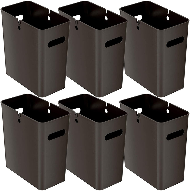 4.2 Gallon / 16 Liter SlimGiant Mocha Black Wastebasket (6-Pack)