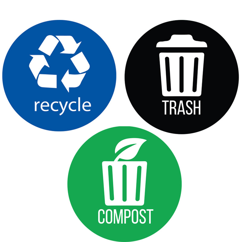 Recycle, Trash & Compost Premium Vinyl Stickers 4""