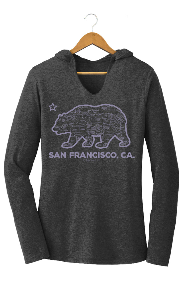 Women's San Francisco Bear Map Hooded T-Shirt