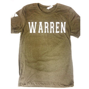 Youth Olive Green Warren Classic Letter Tshirt