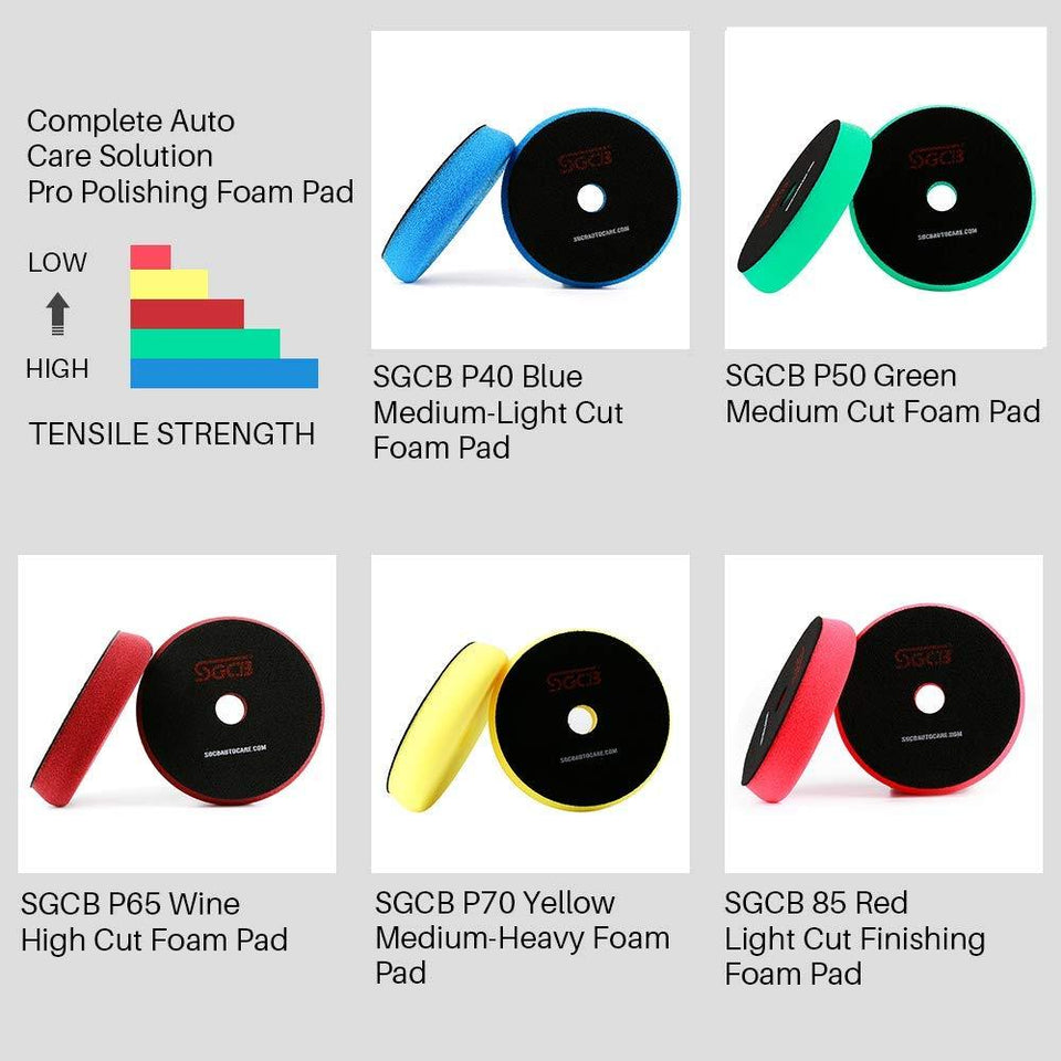 "3"" RO DA Foam Compouding Buffing Finishing Pad Set of 5 - SGCB AUTOCARE"