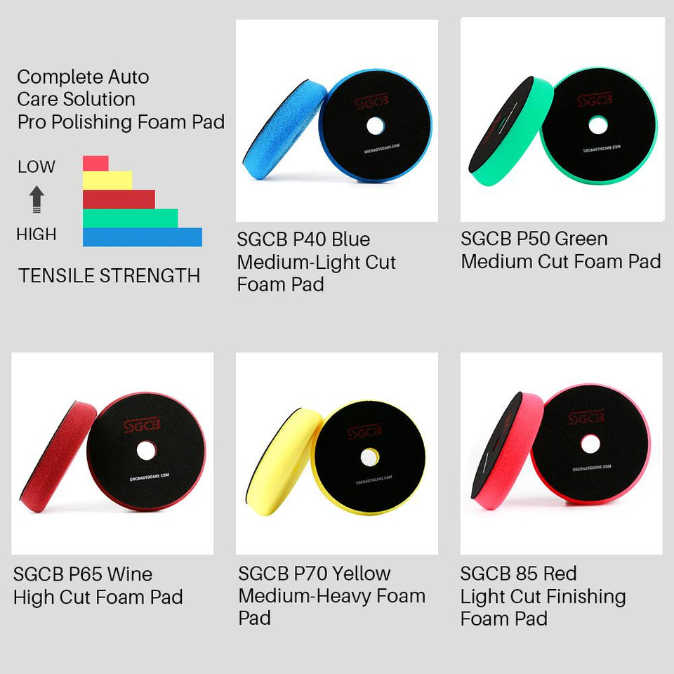 "6"" RO DA Foam Compouding Buffing Finishing Pad Set of 5 - SGCB AUTOCARE"