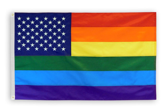 Rainbow US Stars Embroidered Flag