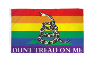 Don't Tread on Me (Rainbow) Gadsden Flag
